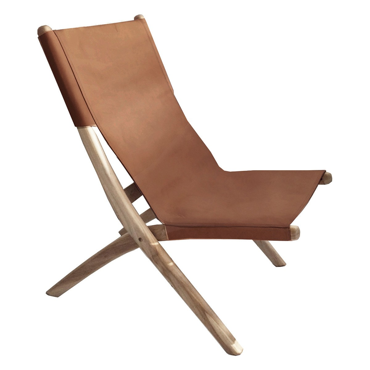 Favela Leather & Teak Folding Lounge Chair, Tan