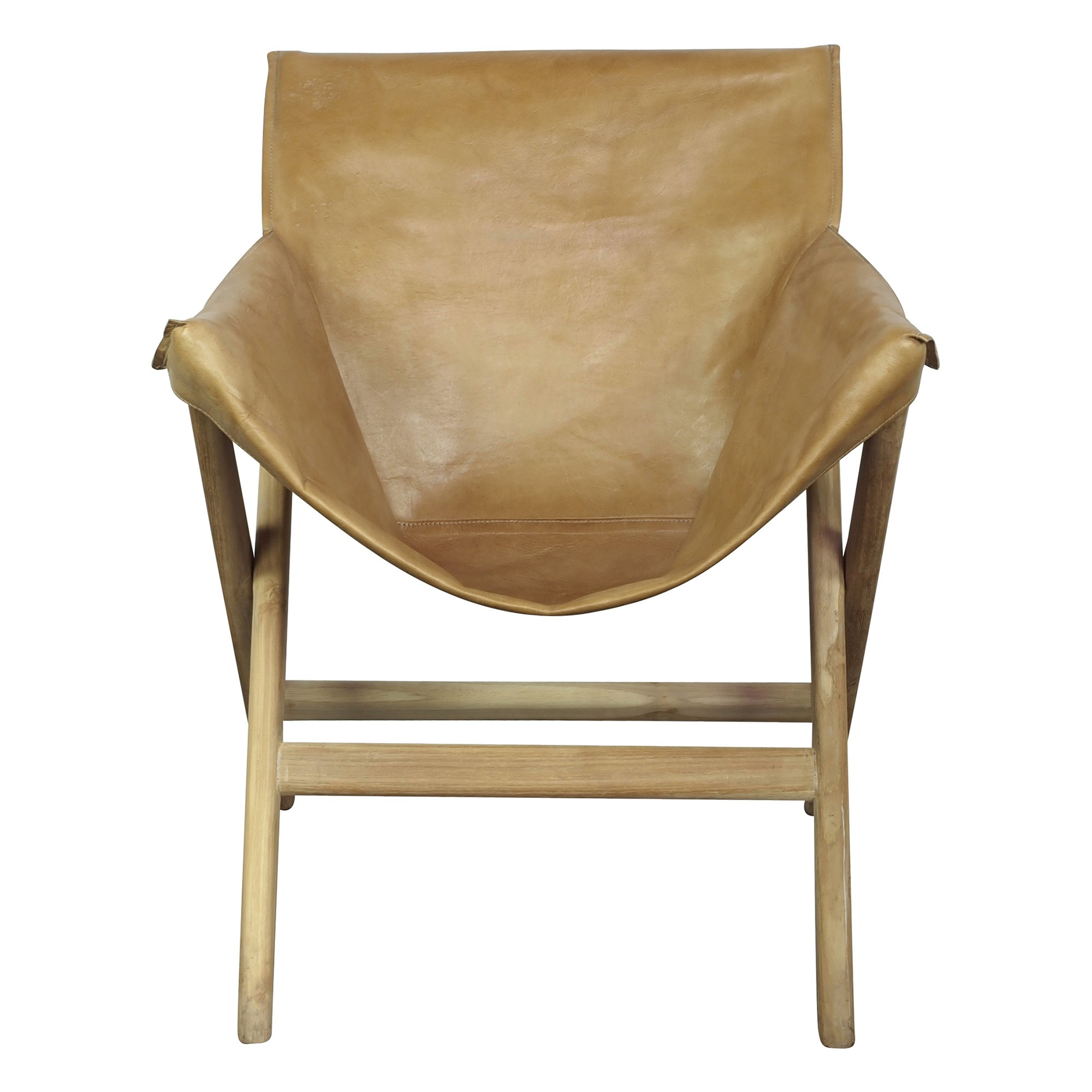 Glove Leather & Teak Chair, Caramel