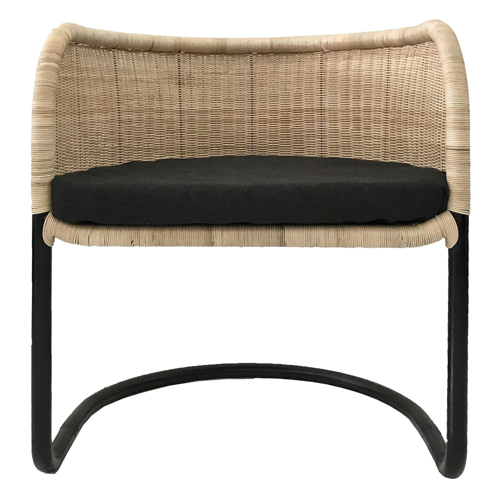 Lev Rattan & Steel Armchair, Black / Natural