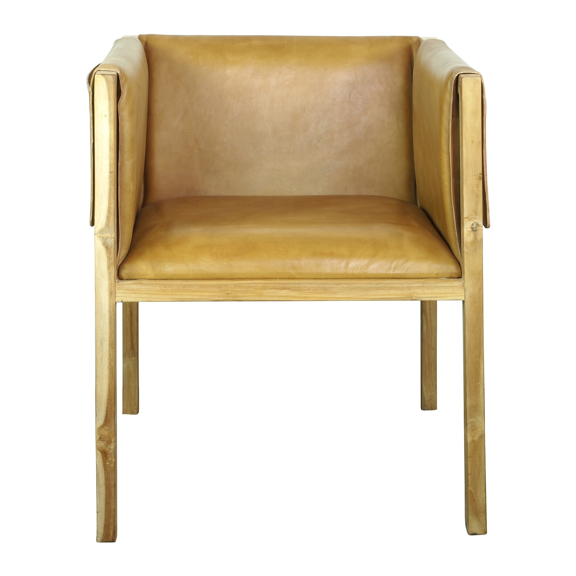 Pocket Leather & Teak Dining Armchair, Caramel