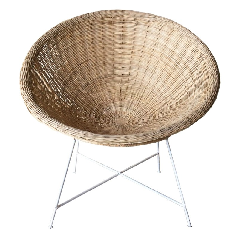 Pepe Rattan Lounge Chair, Natural / White