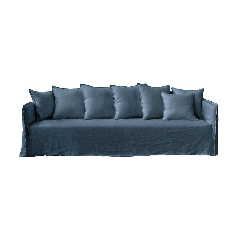 Casper Linen Slipcovered Sofa, 4 Seater, Indigo