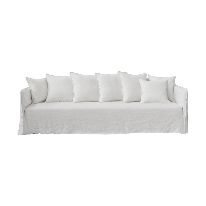Casper Linen Slipcovered 4 Seater Sofa, Winter White