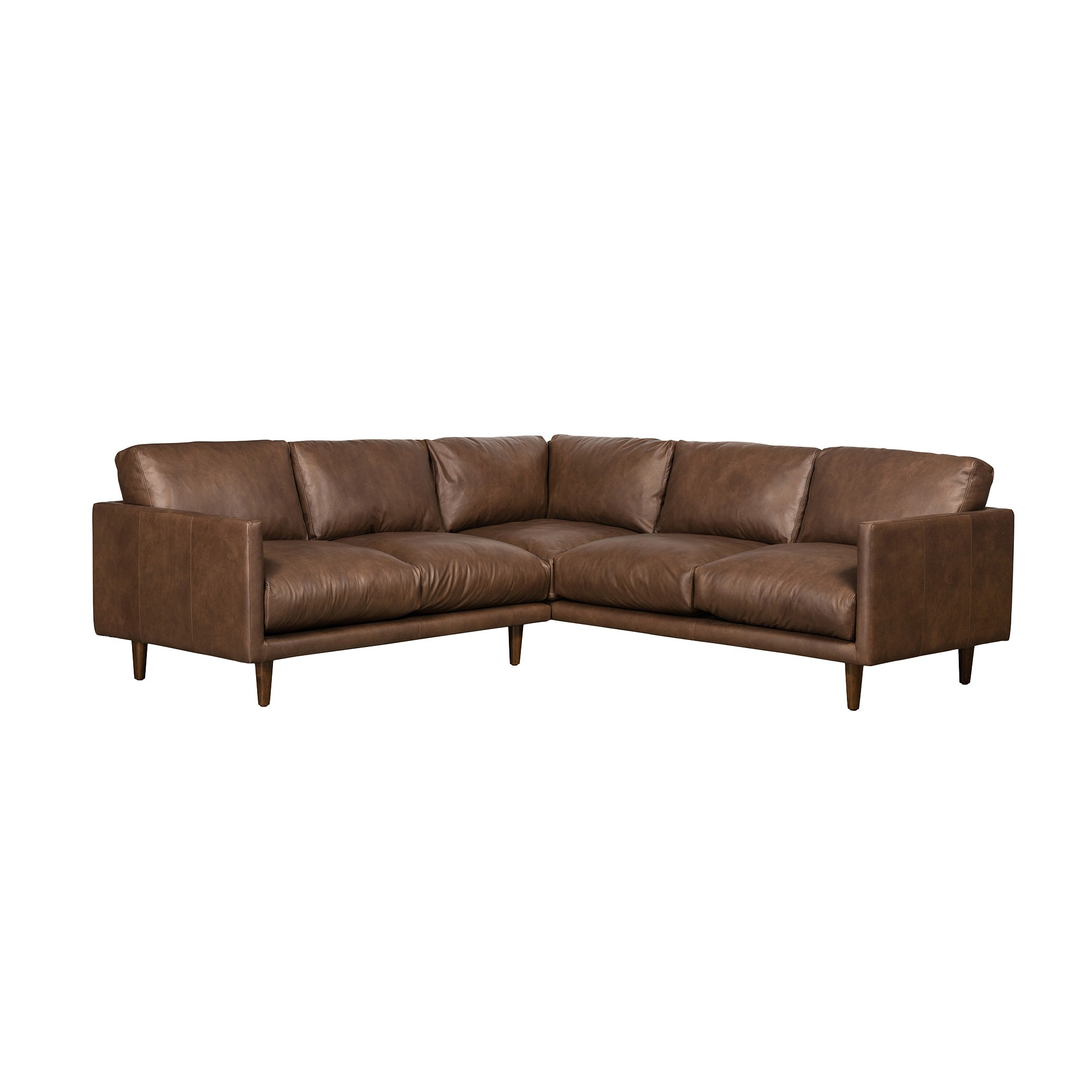 Carson Italian Leather Corner Sofa, 4 Seater, Brown