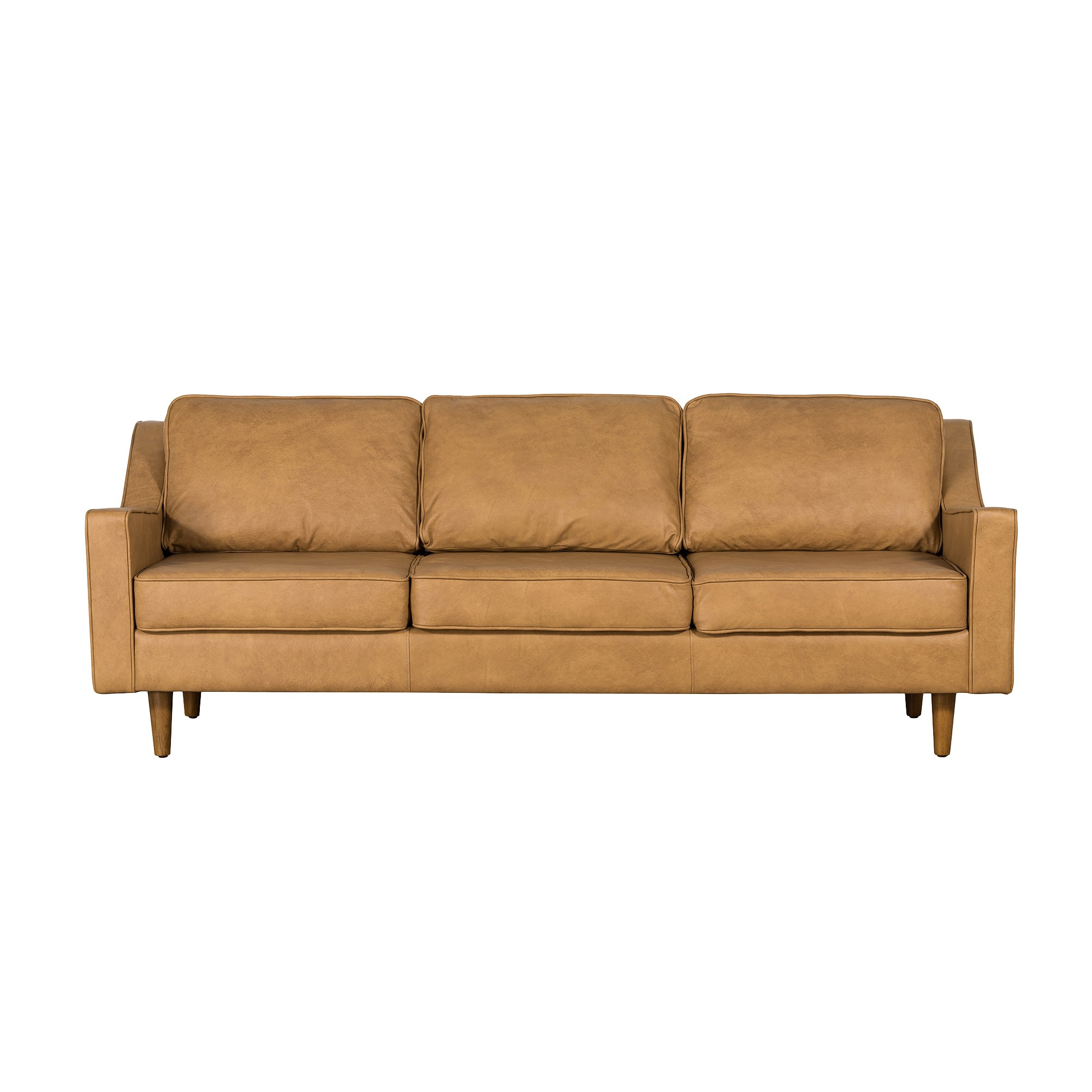Taylor Italian Leather Sofa, 3 Seater, Tan