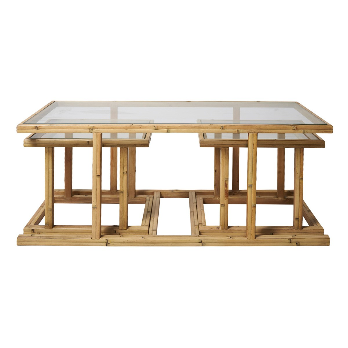 Cayman 3 Piece Bamboo & Glass Coffee & Side Table Set