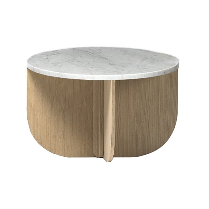 Gitta Marble & Oak Round Side Table