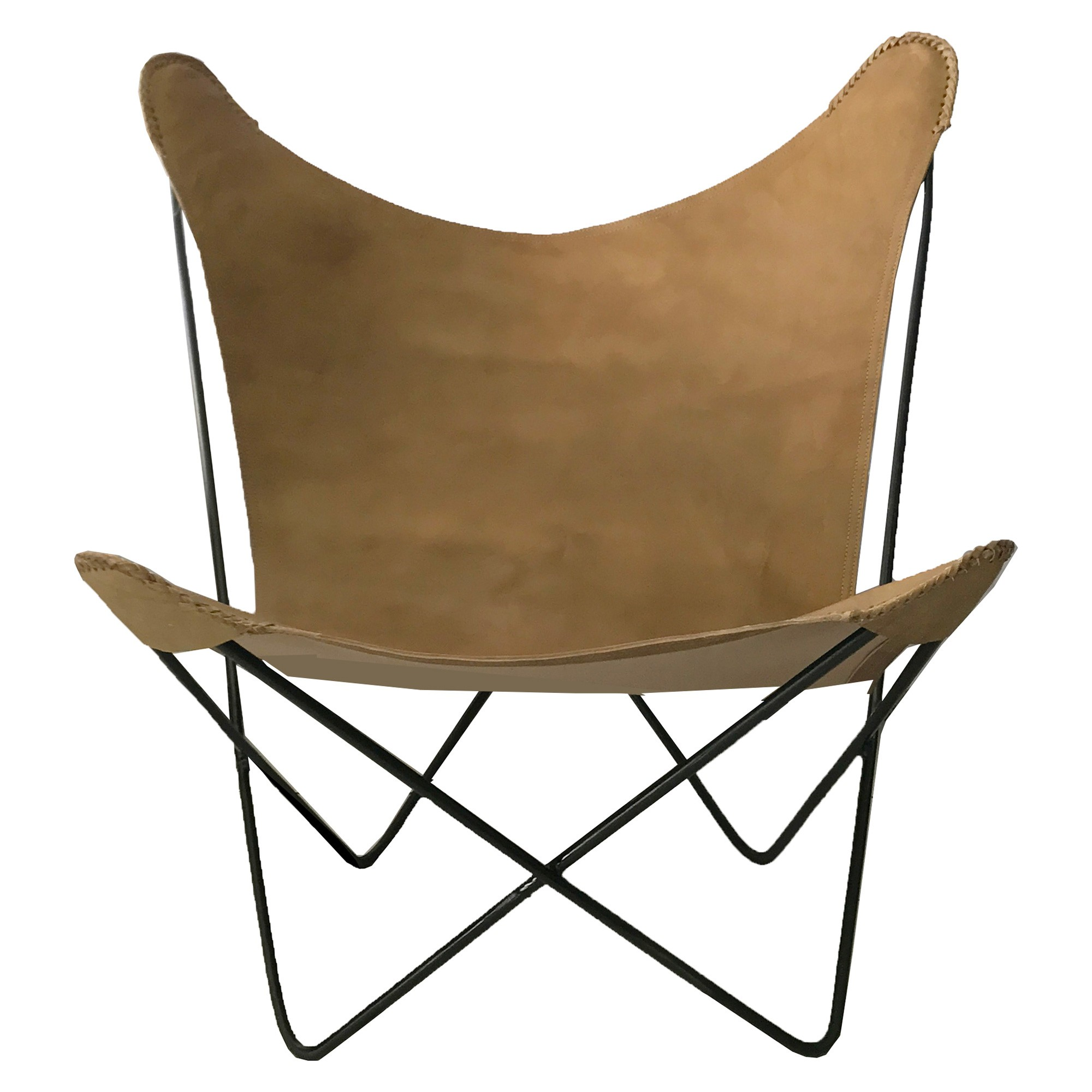 Hermann Leather & Steel Butterfly Chair, Caramel