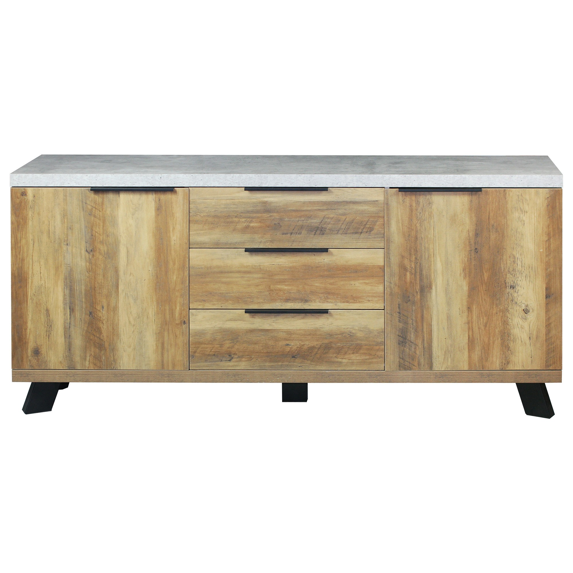 Atlanta 2 Door 3 Drawer SideBoard, 170cm, Concrete Grey / Natural
