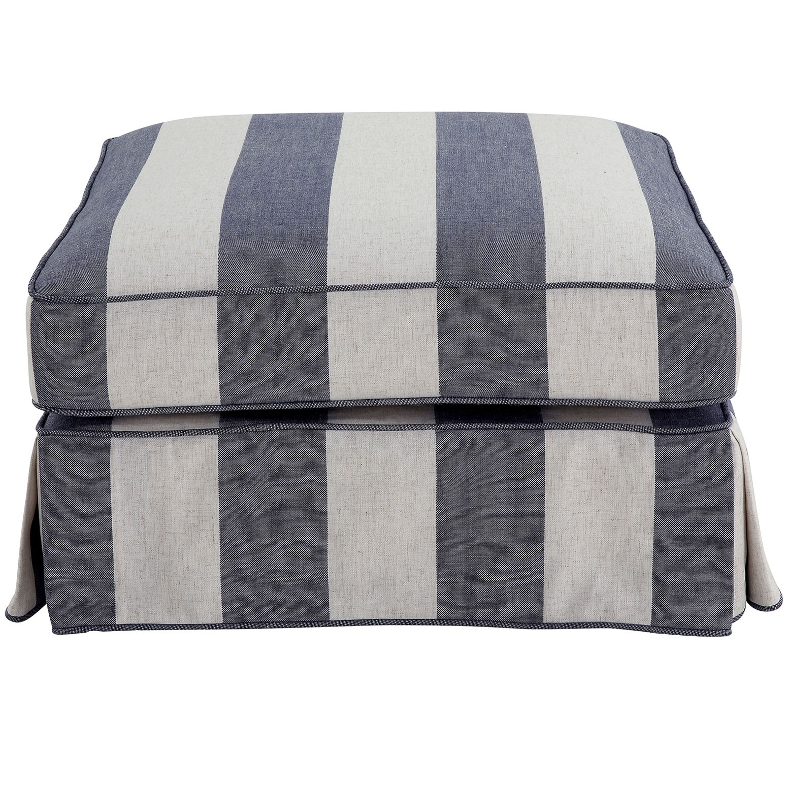 Noosa Fabric Ottoman Slipcover (Cover Only), Denim / Cream Stripe