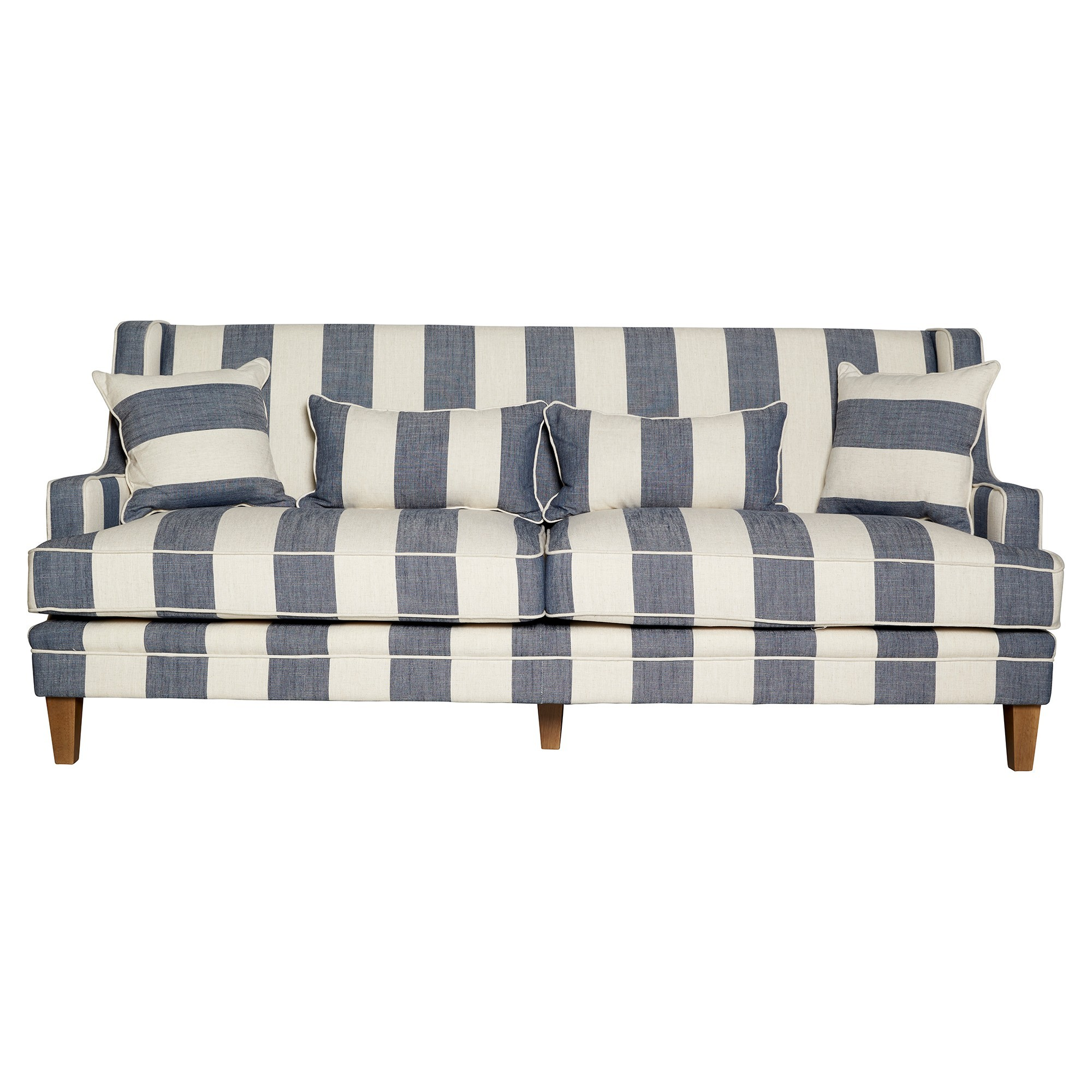 Kimberley Striped Fabric Sofa, 3 Seater, Denim / Cream