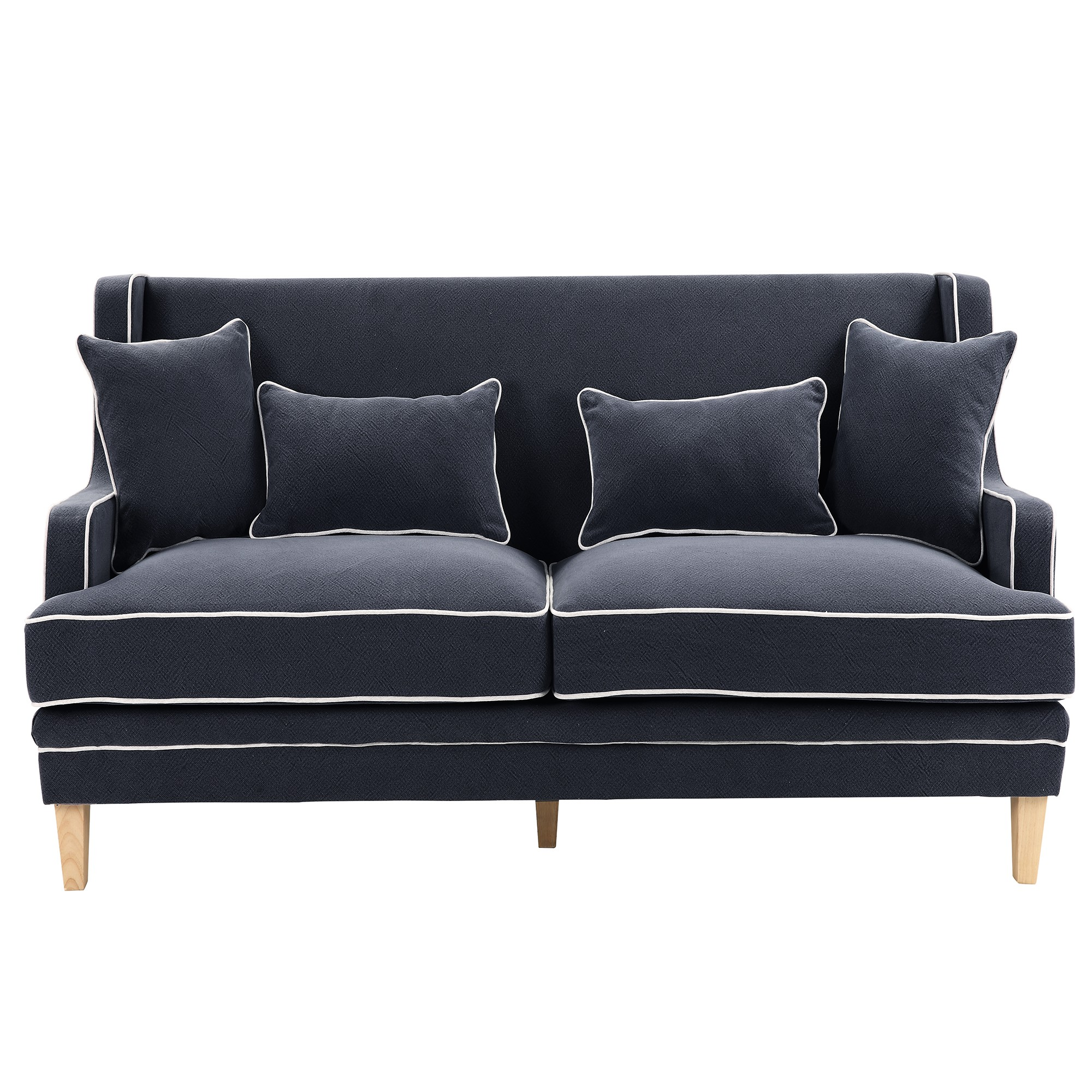 Bondi Fabric Sofa, 3 Seater, Navy with White Piping