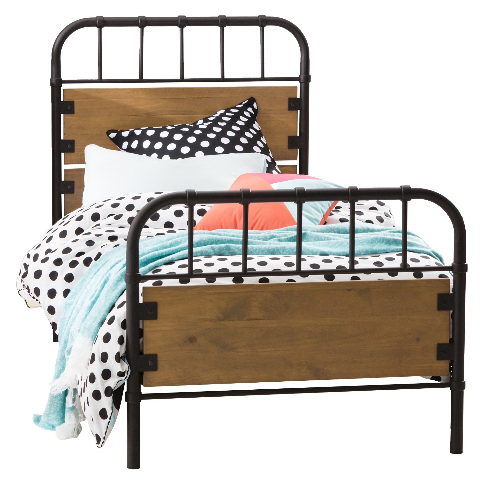 Flinders Metal & Timber Bed, Single, Natural