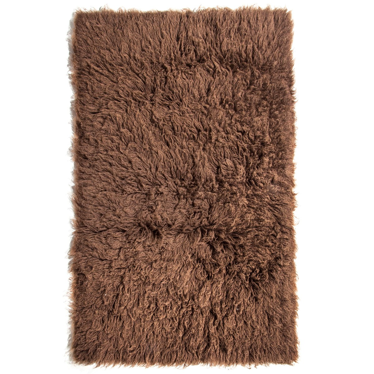 Flokati Greek Made Shaggy Wool Rug, 170x110cm, Cocoa