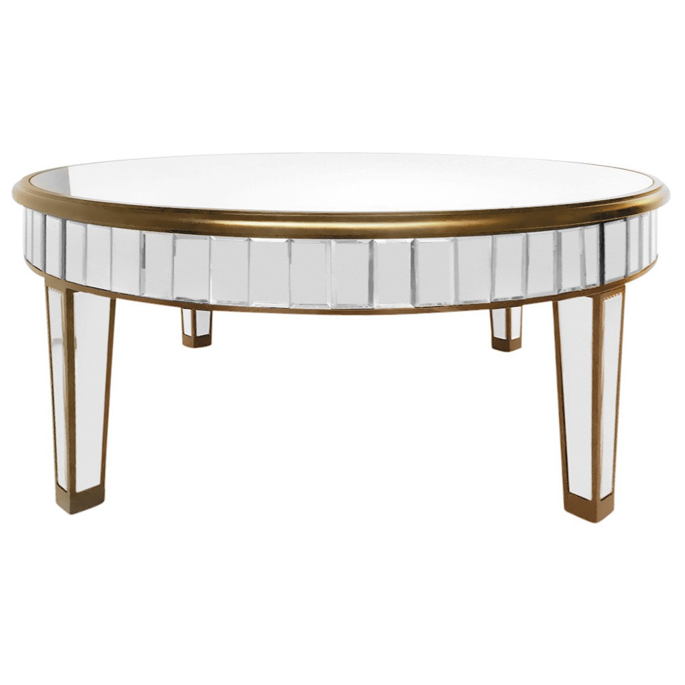 Poem Mirrored Round Coffee Table, 100cm