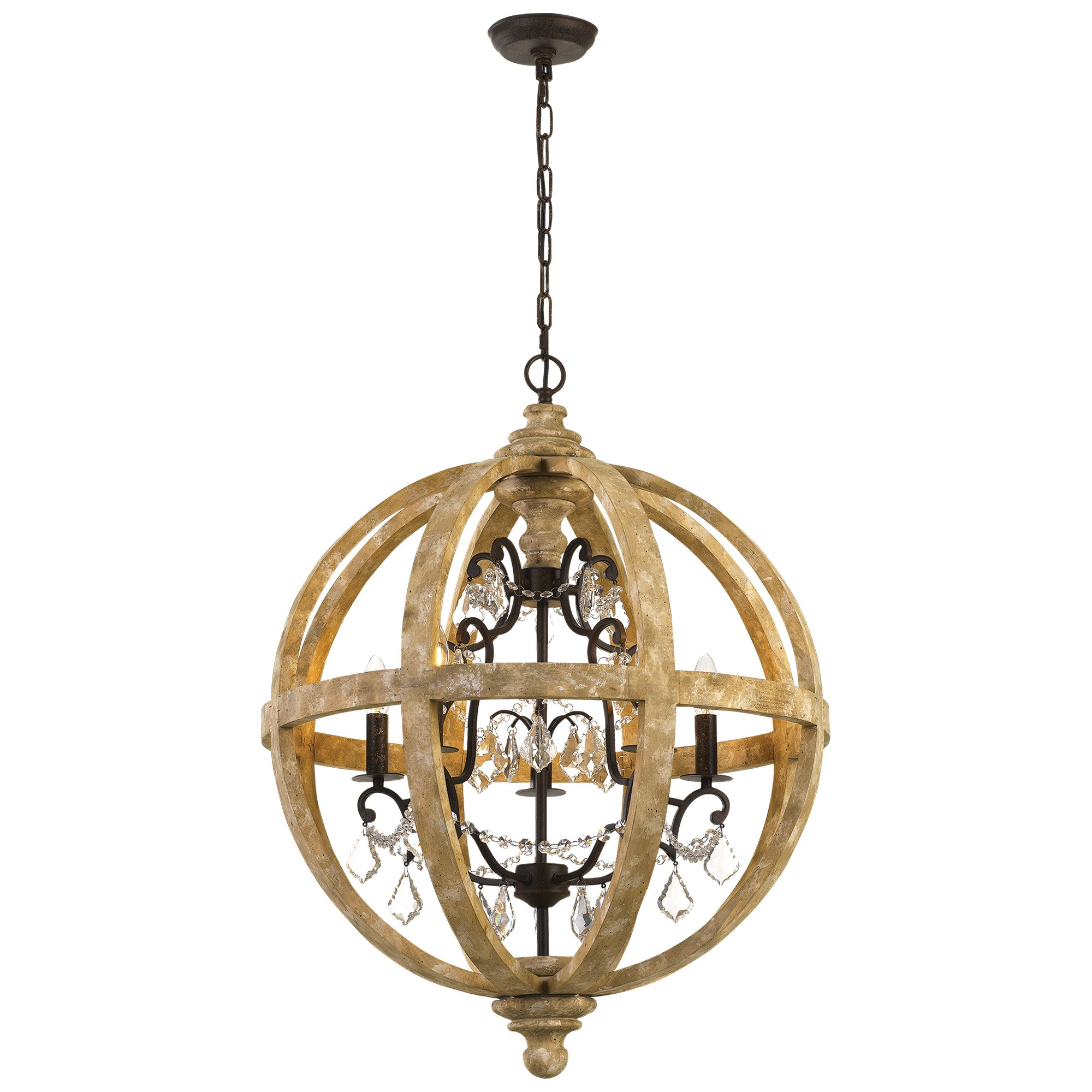 Florin Wood & Iron Chandelier / Pendant Light, Small
