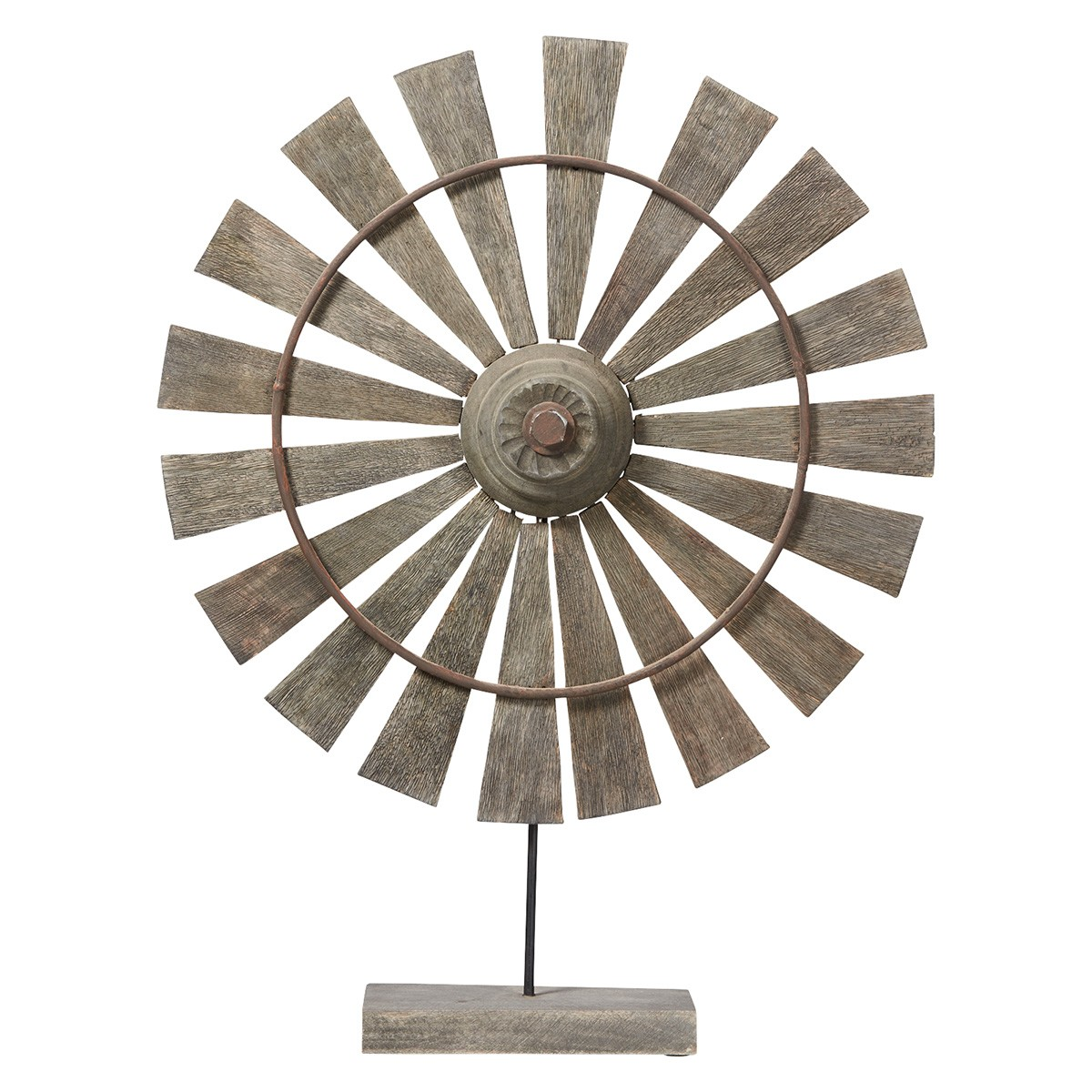 Rural Mango Wood Windmill Decor, Large