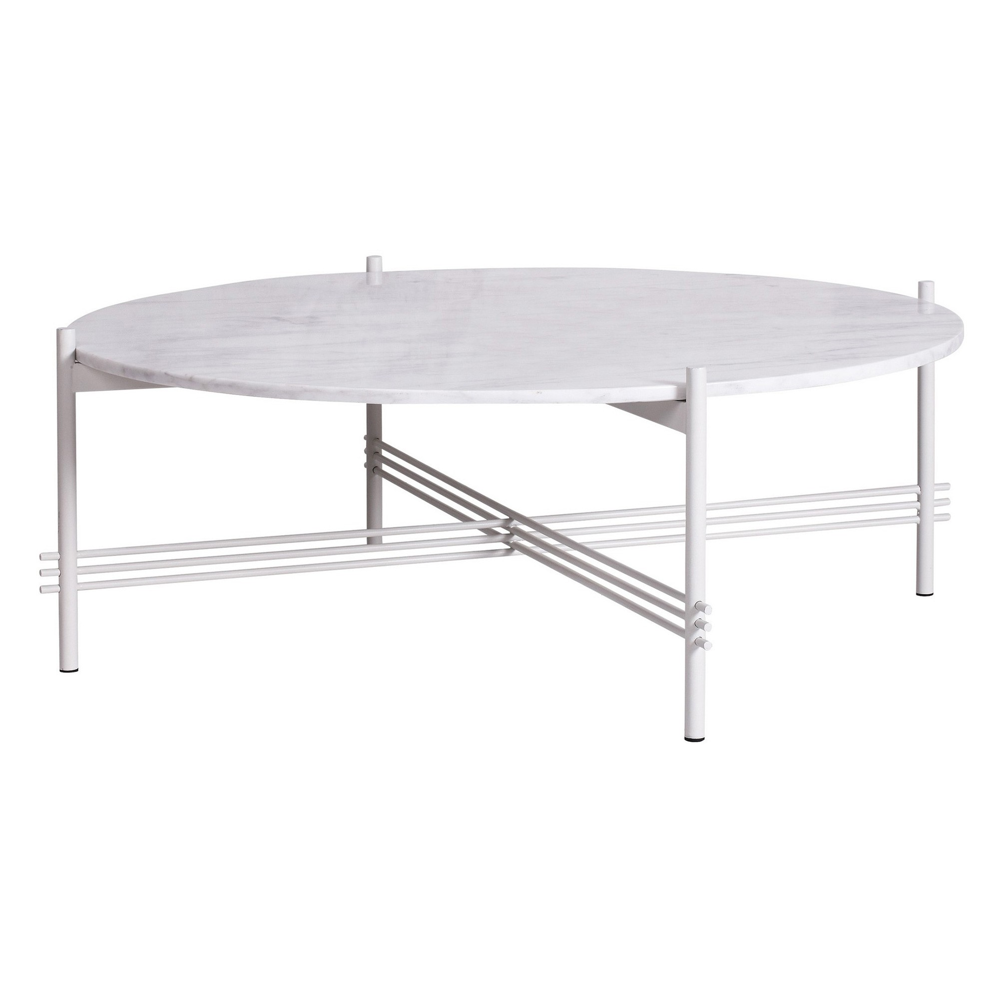 Monument Marble Top Steel Round Coffee Table, 100cm, White