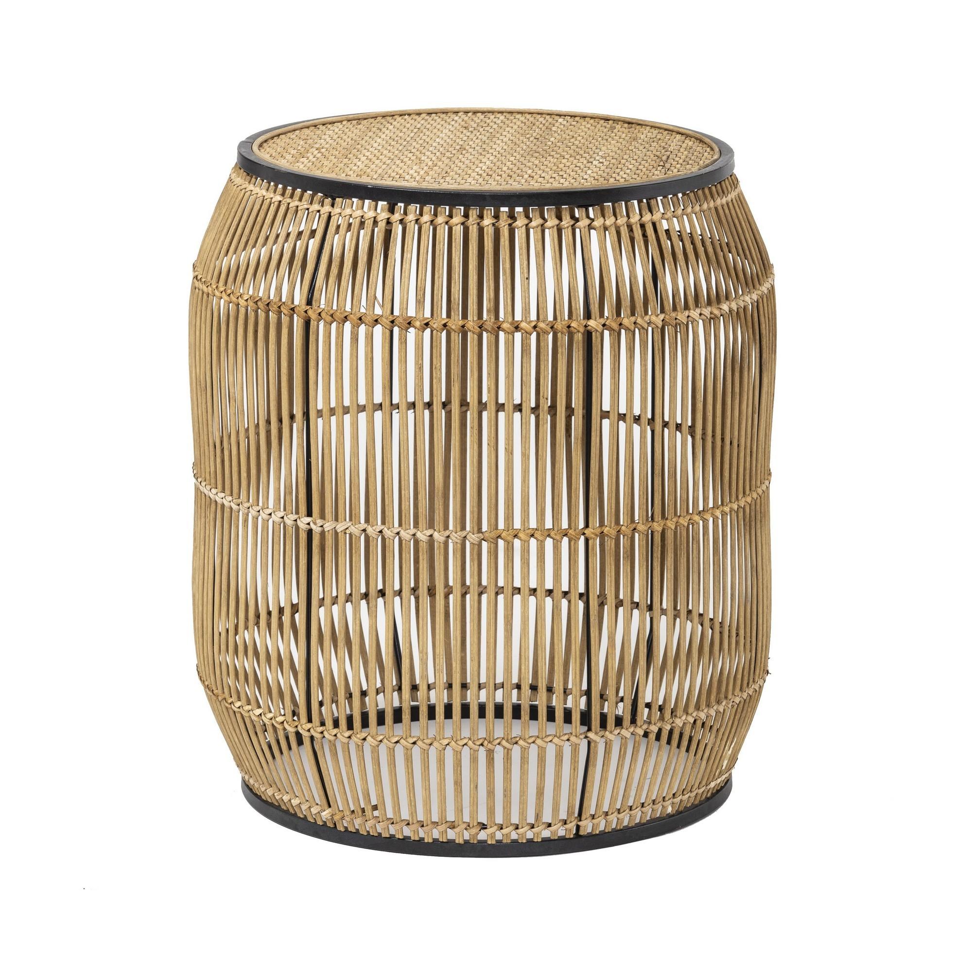Pima Handmade Bamboo Rattan Round Side Table