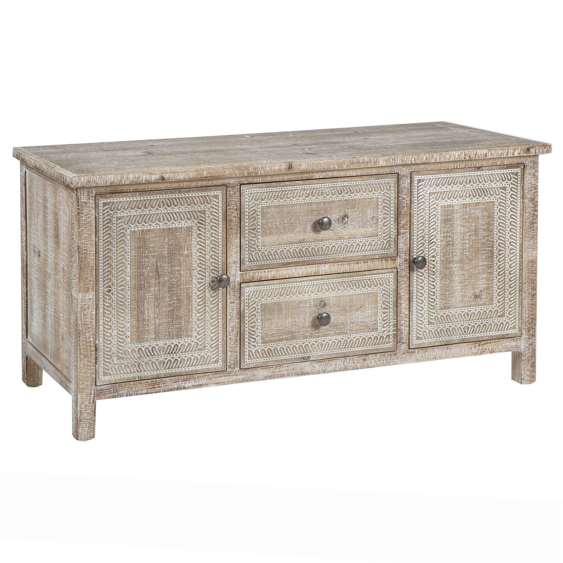 Almada Fir Timber 2 Door 2 Drawer Sideboard, 115cm