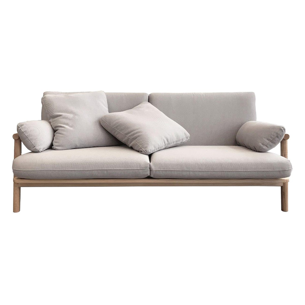 Norm Fabric & Ash Timber Sofa, 2 Seater, Pale Grey