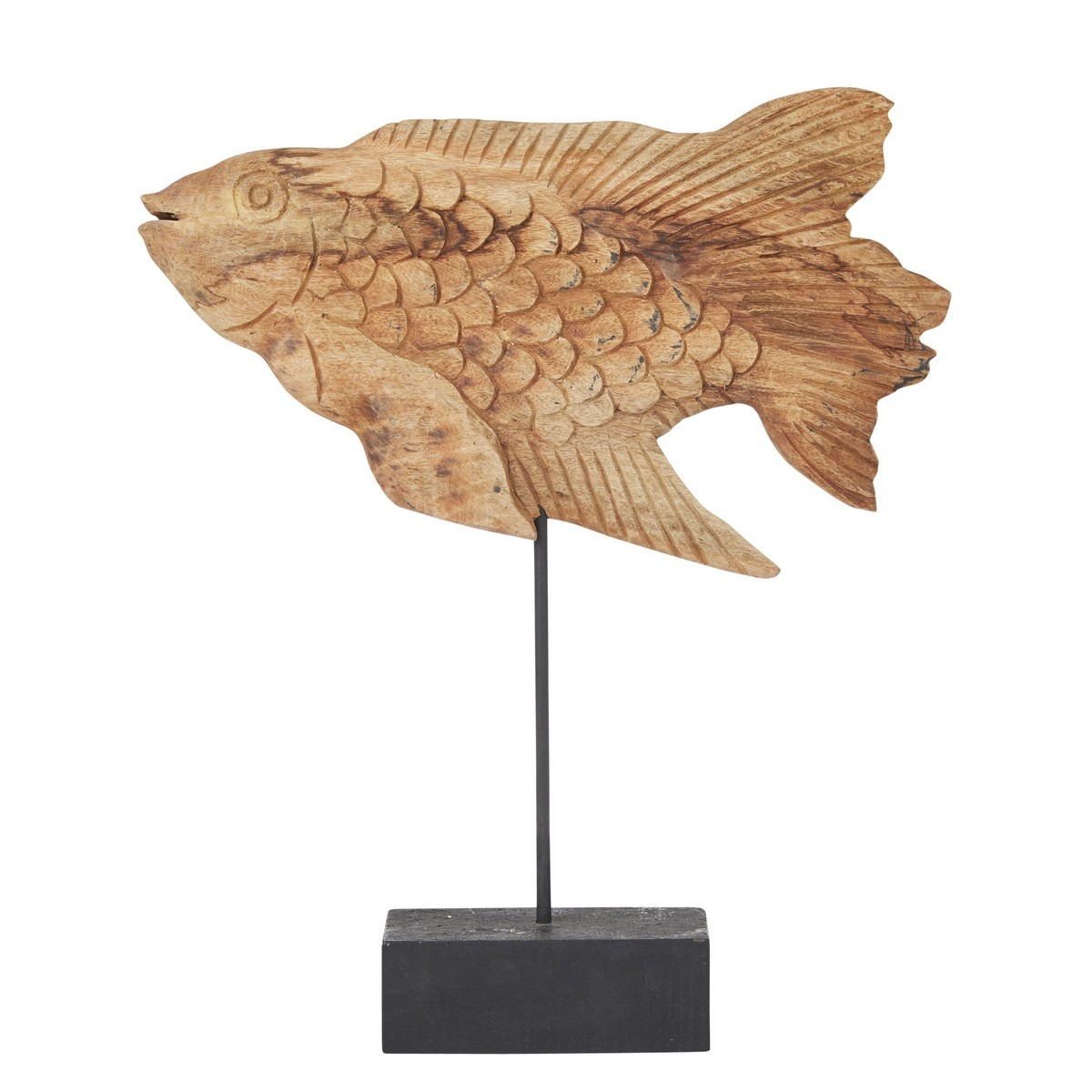 Koi Carved Mango Wood Fish Sculpture on Stand