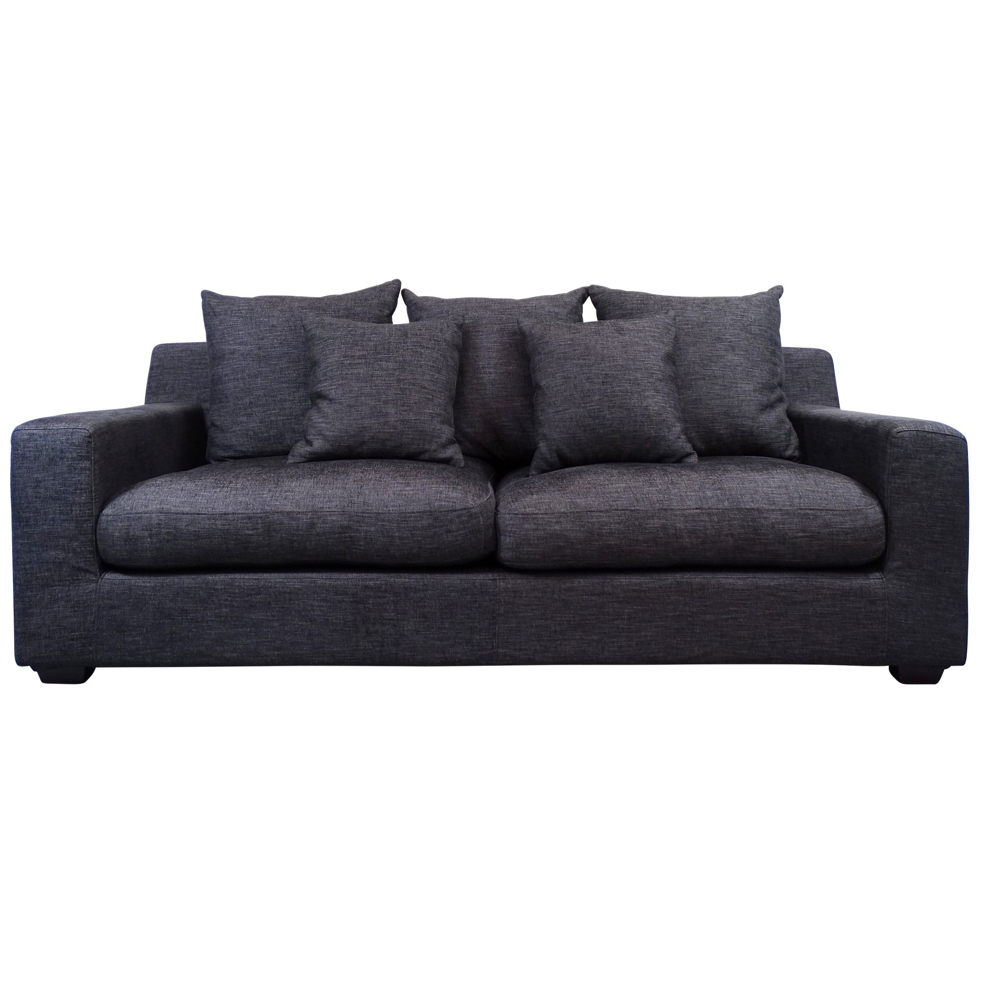 Cynthia Fabric Sofa, 3 Seater, Dark Grey