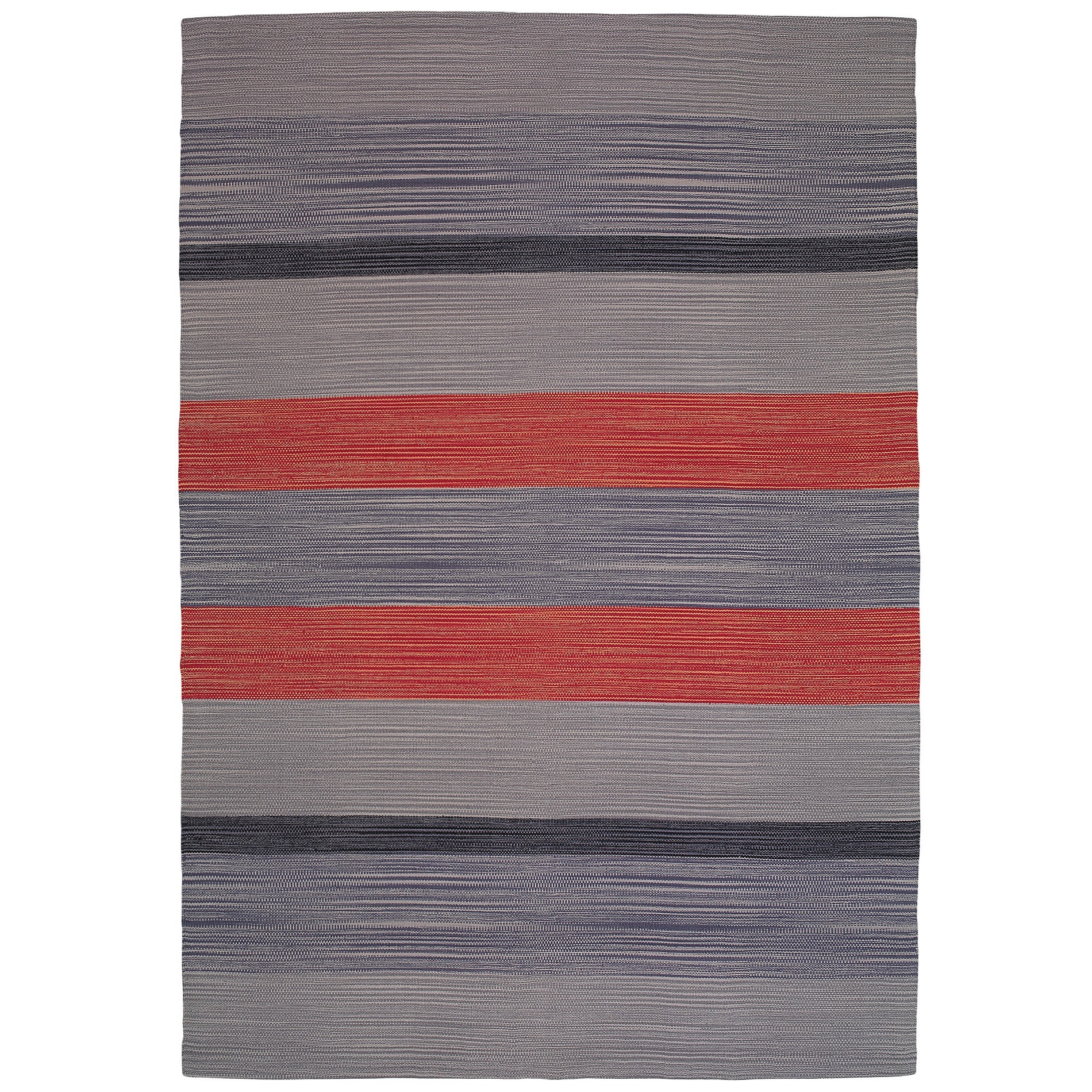 Oxford No.797 Cotton Modern Rug, 290x200cm, Grey / Red