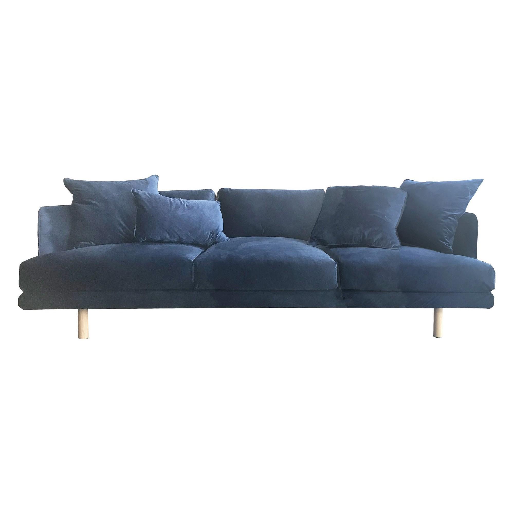 Cody Velvet Fabric Sofa, 4 Seater, Husk