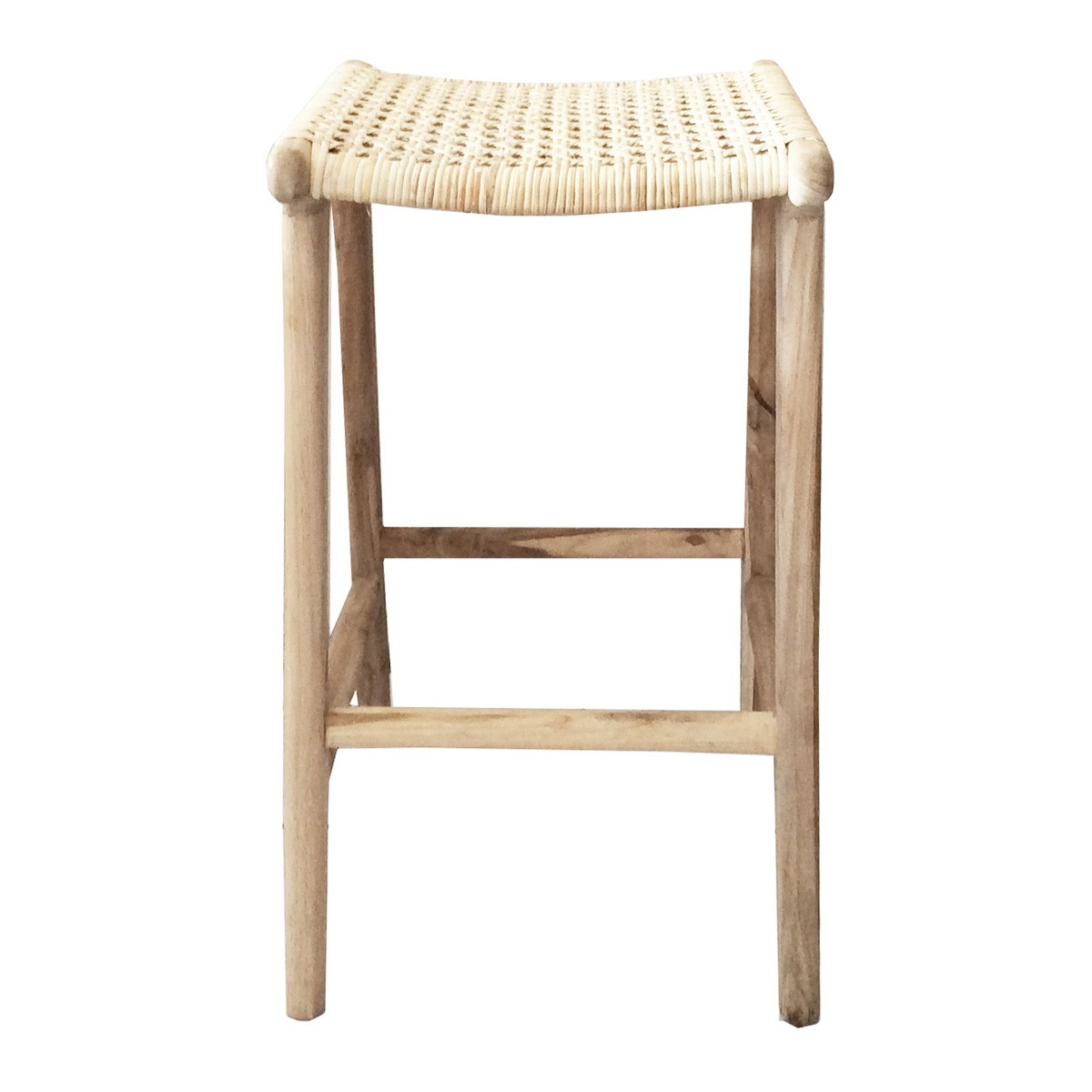 Marvin Rattan & Teak Counter Stool, Natural