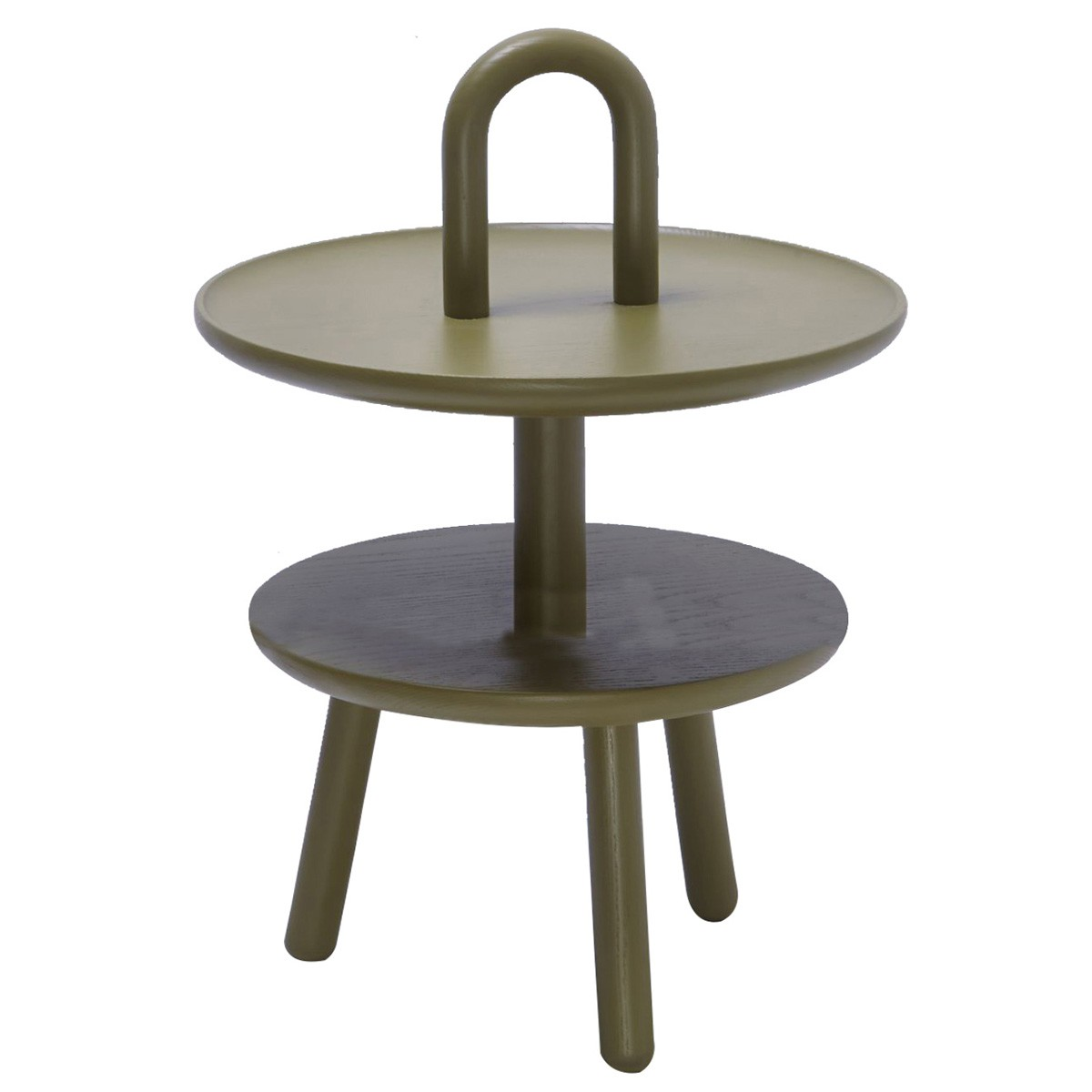 Sushi Ash Timber Round Side Table, Olive