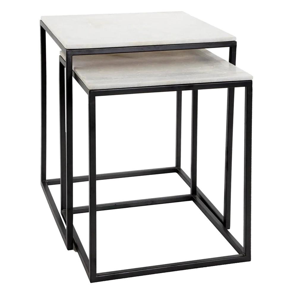 Lamington 2 Piece Marble Top Metal Nesting Side Table Set