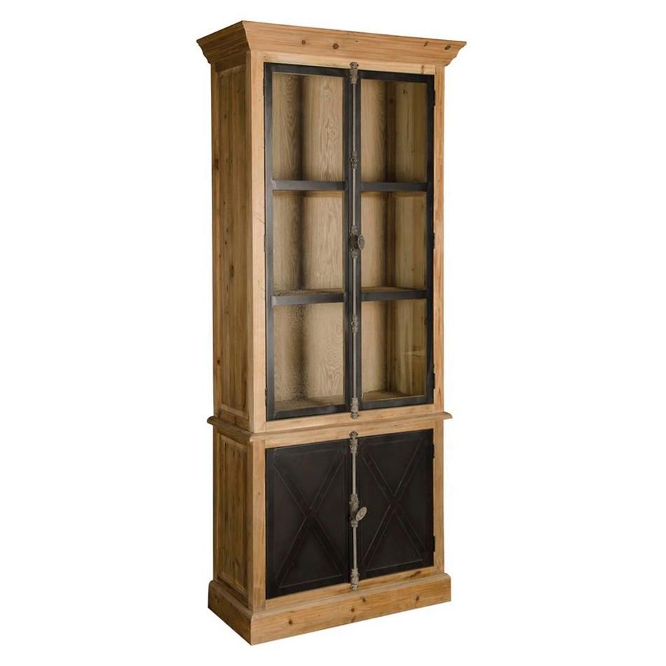 Esma Pine Timber Display Cabinet with Iron Doors