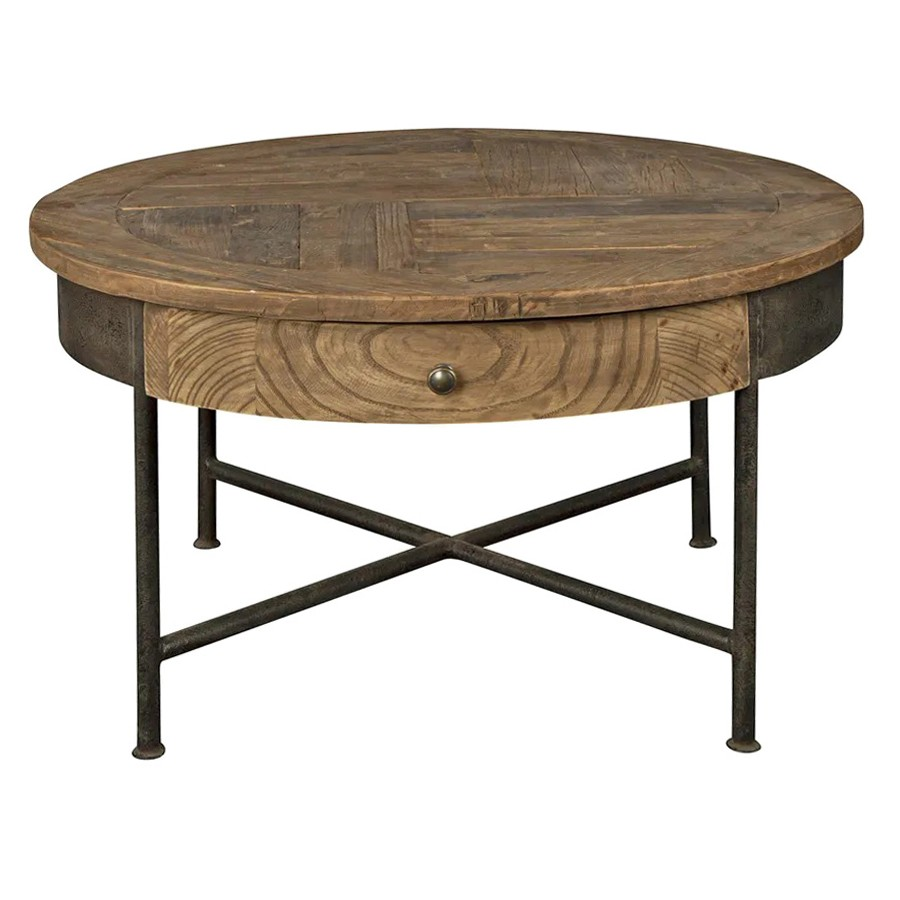 Sonnac Reclaimed Elm Timber & Iron Round Coffee Table, 80cm