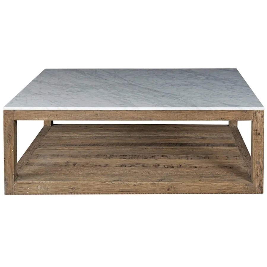 Aveyron Marble Topped Oak Timber Coffee Table, 120cm, Natural