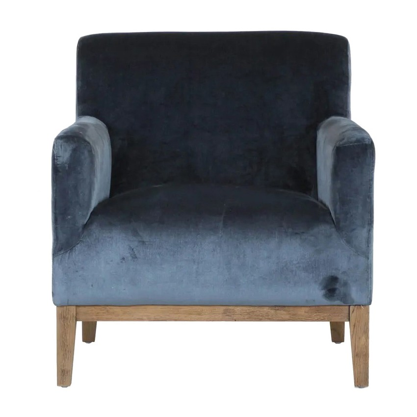 Logan Velvet Fabric Armchair, Blue