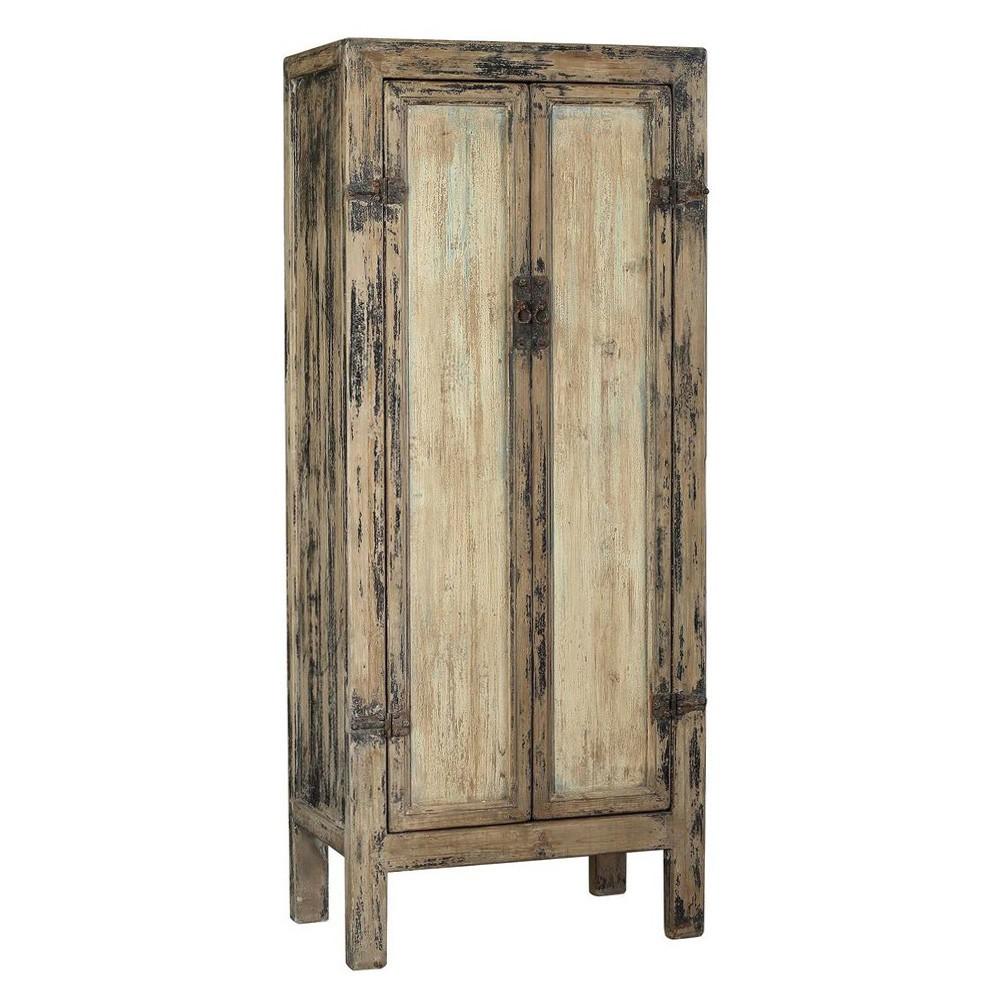 Shadrack Antique Oriental Elm Timber 2 Door Wardrobe