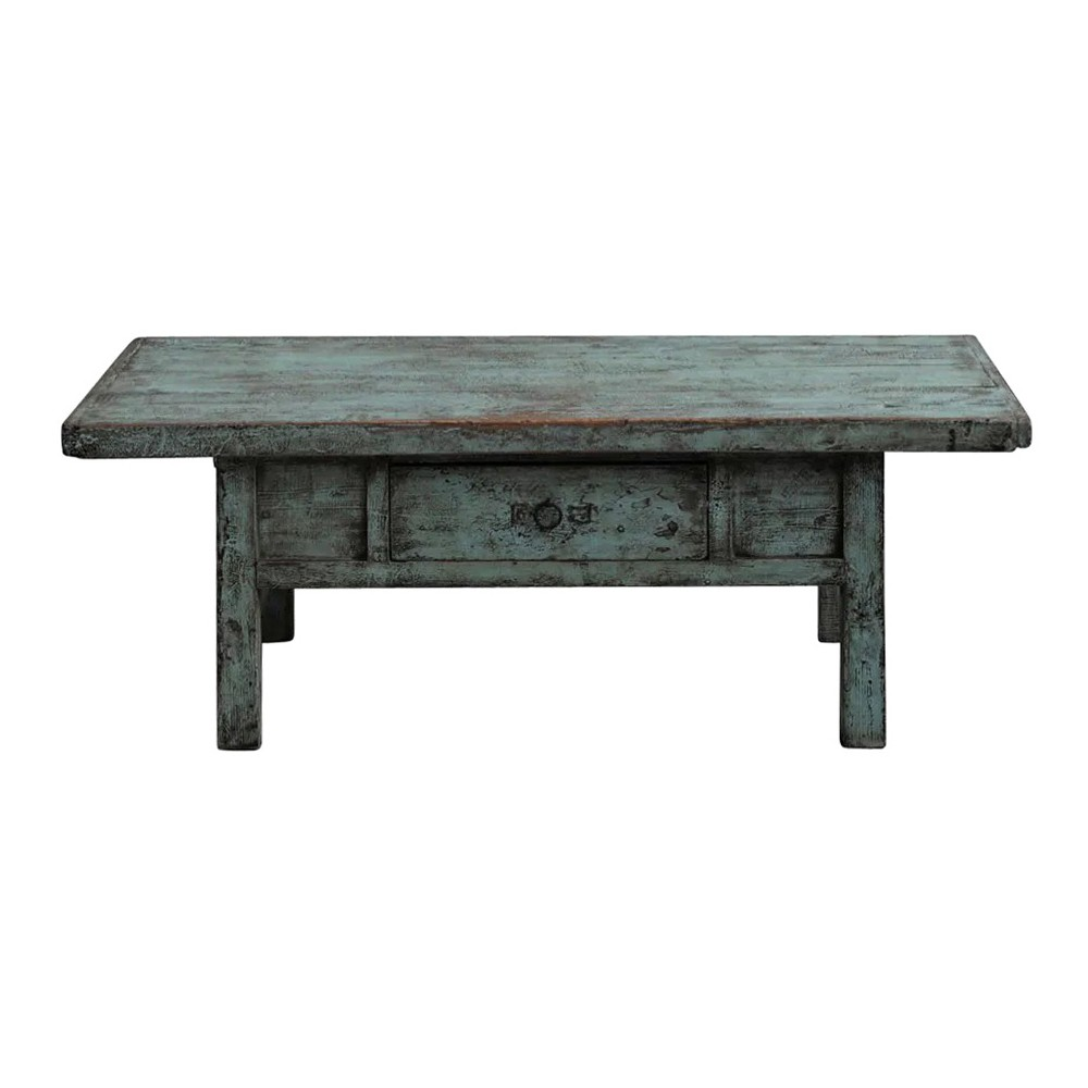 Yalin 120 Year Antique Elm Timber Coffee Table, No.1445