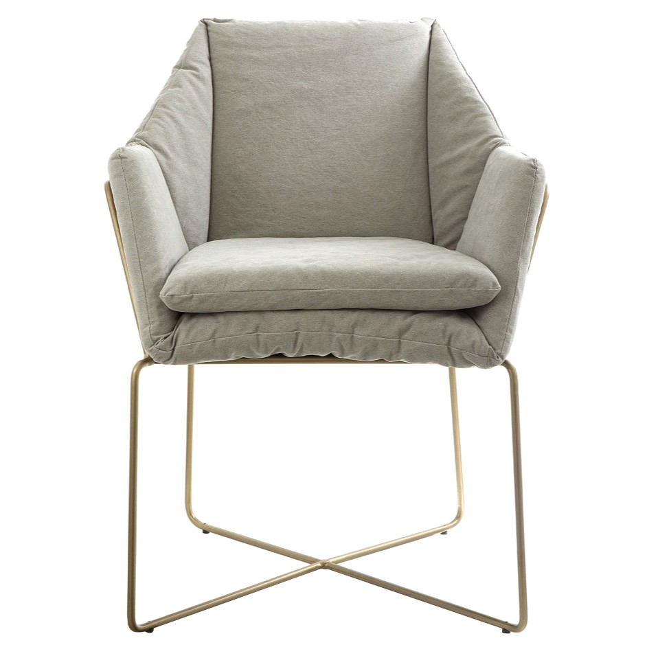 Miles Metal Dining Armchair with Fabric Seat