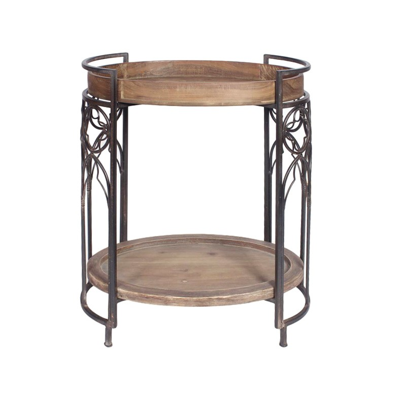 Diego Timber & Iron Oval Side Table