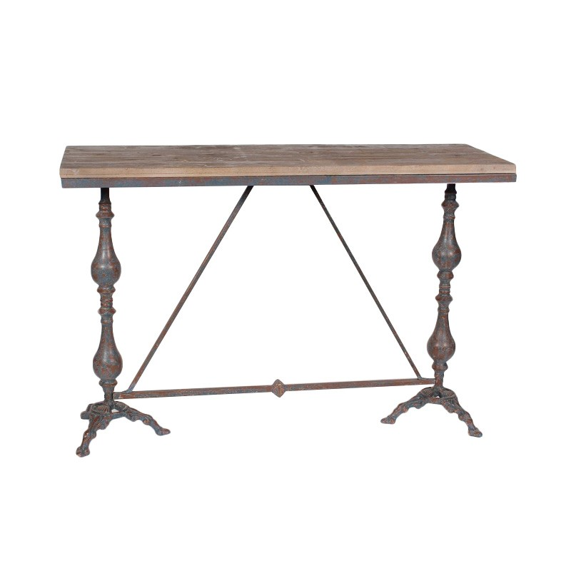 Cambridge Fir Timber Topped Iron Console, 122cm