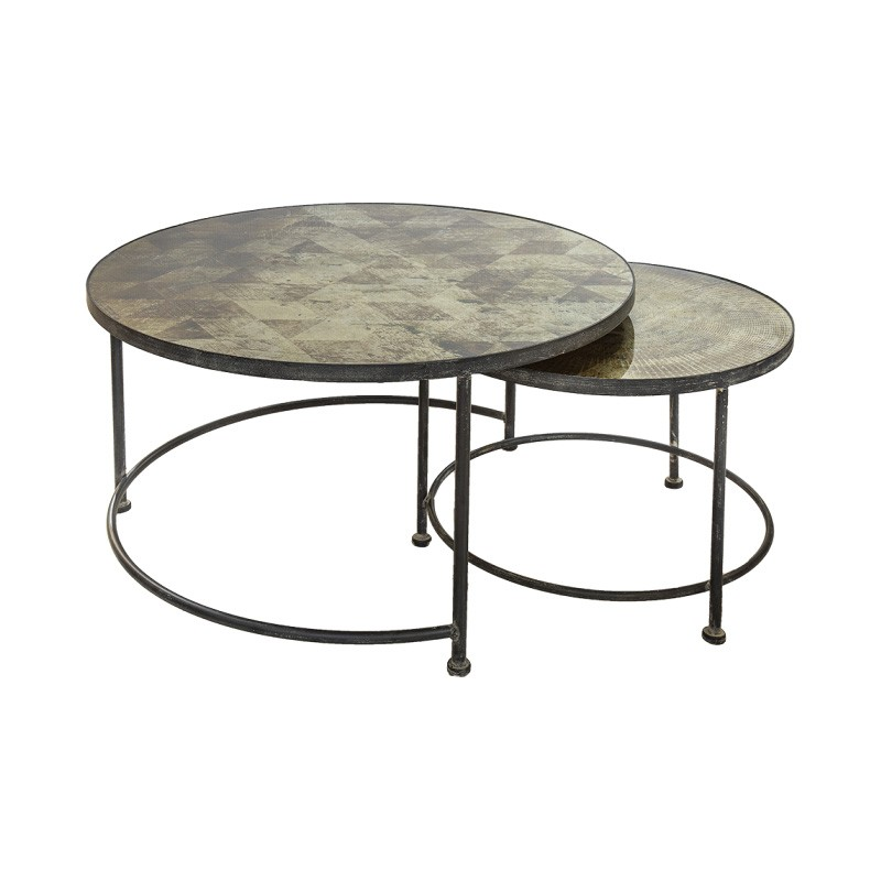 Borger 2 Piece Glass Topped Iron Nesting Coffee Tables Set, 84cm