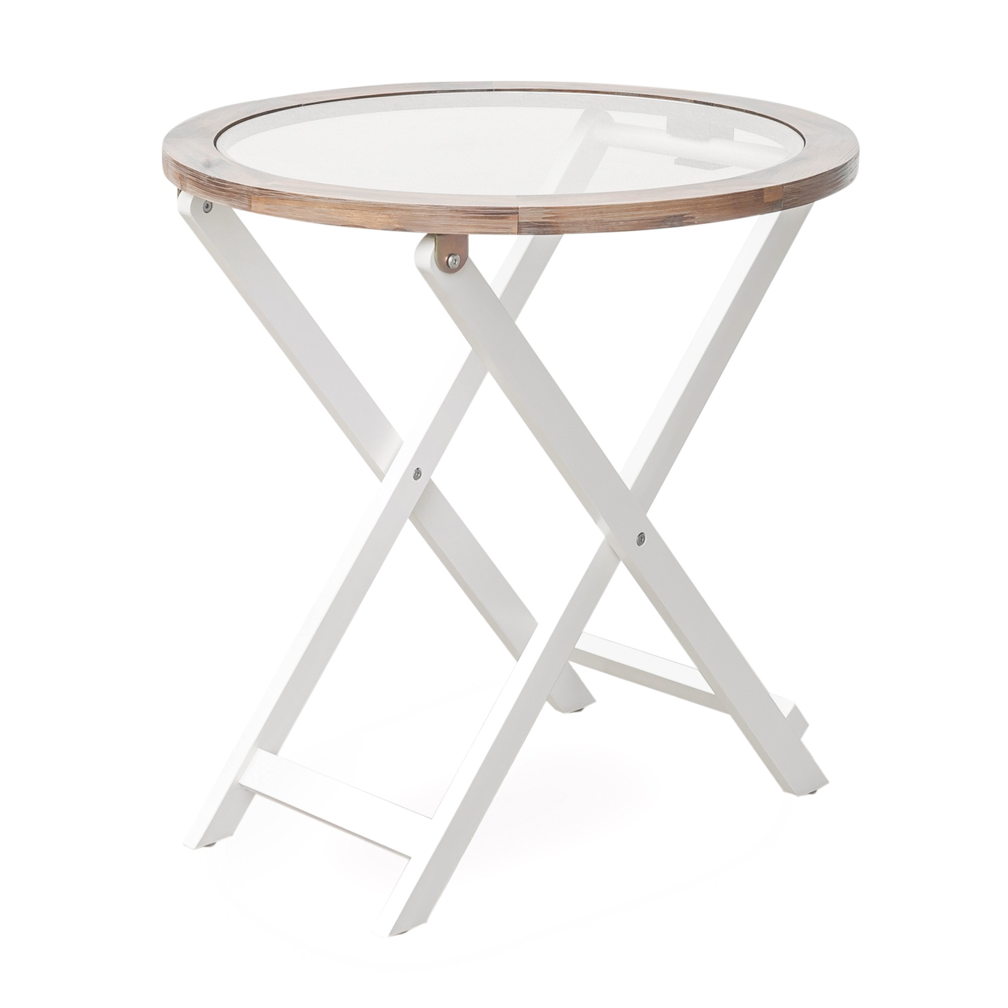 Palm Harbour Foldable Glass Topped Timber Round Side Table