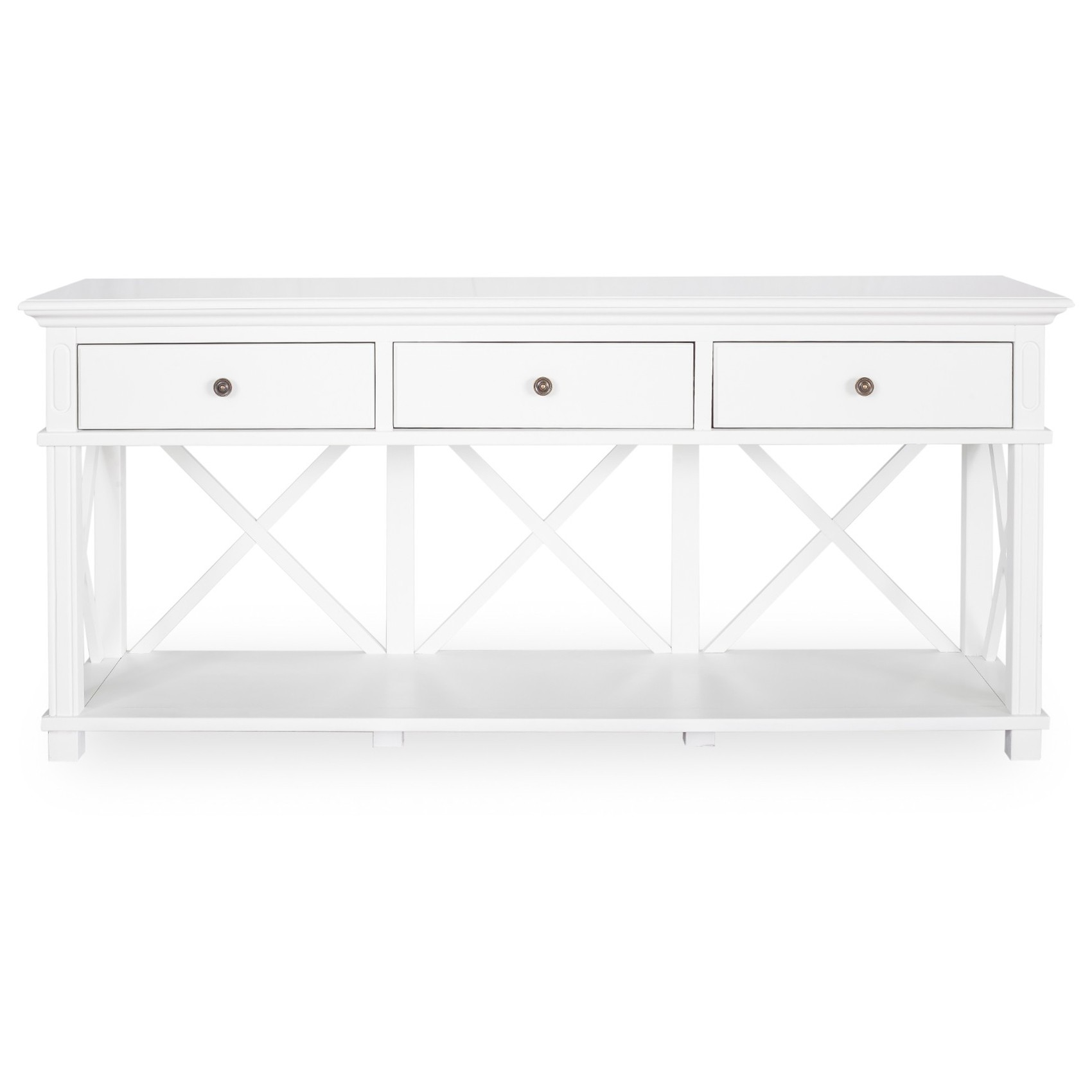 Sorrento Wooden Console Table, 3 Drawer, 190cm, White