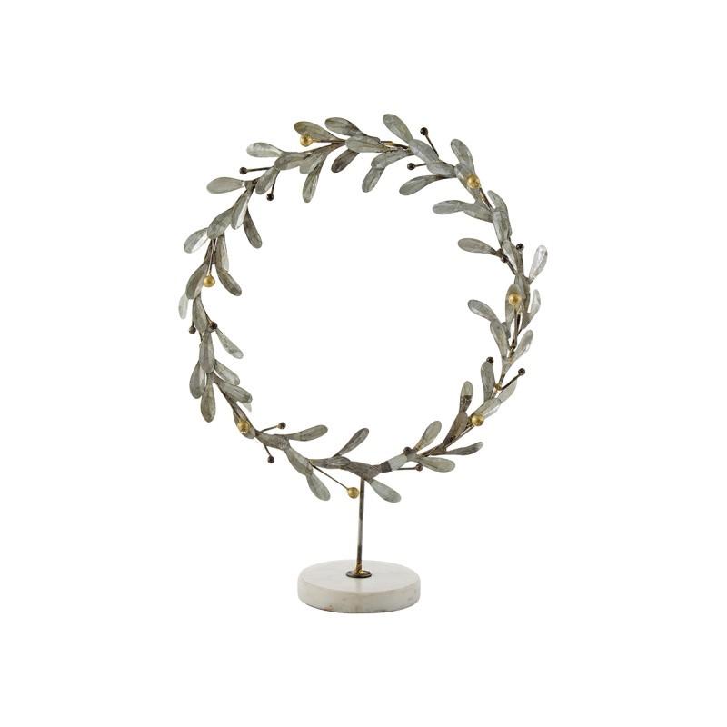 David Metal Misletoe Wreath on Stand