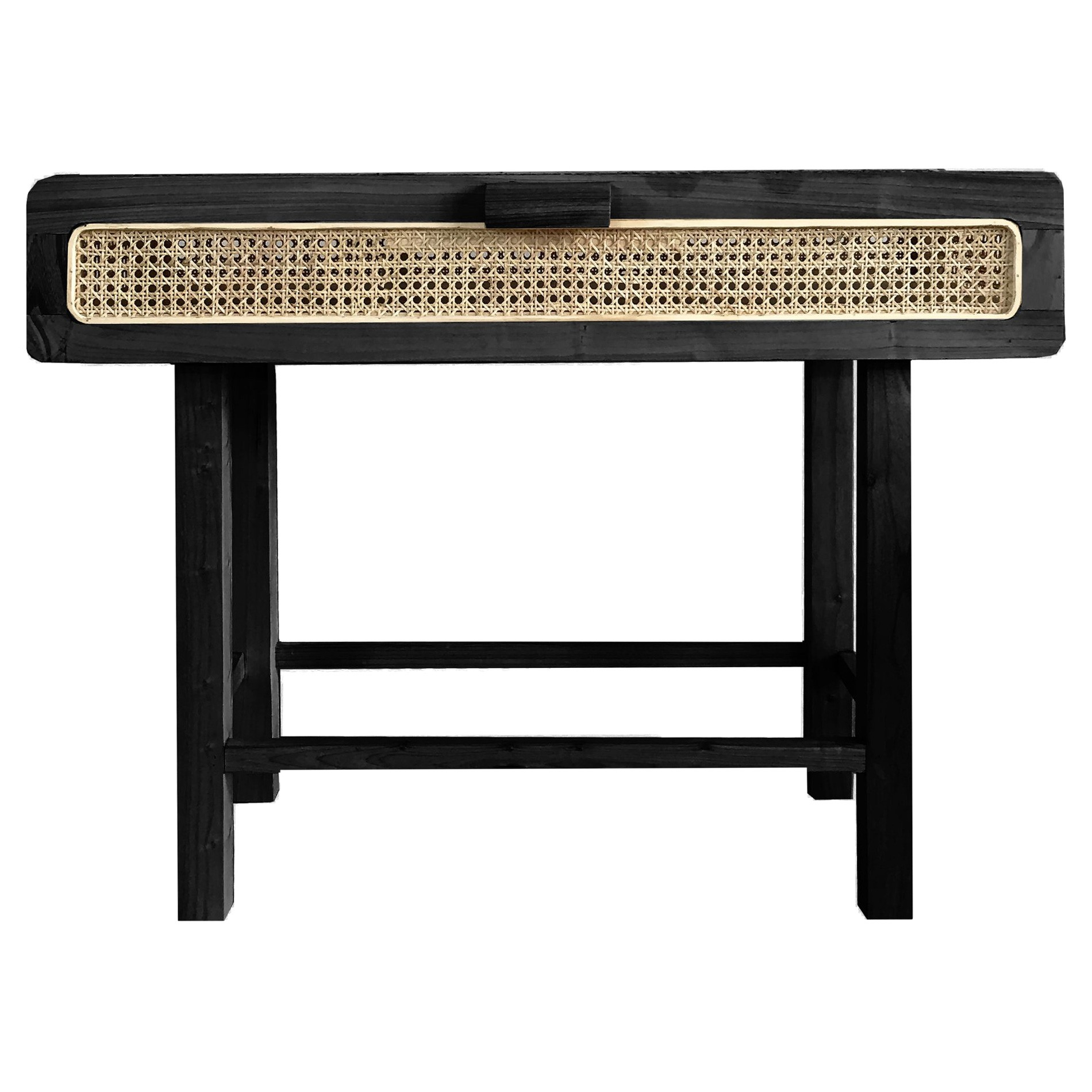 Hayme Wood & Rattan Console Table, 100cm, Black