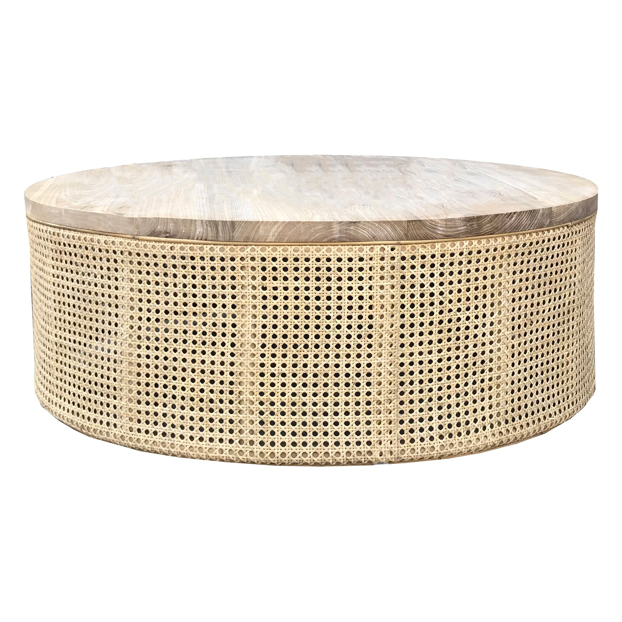 Zoe Solid Sunkai Wood & Rattan Round Coffee Table, 90cm
