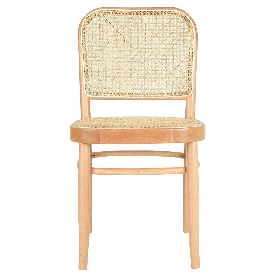 Faria Commercial Grade Beech Timber & Rattan Dining Chair, Natural