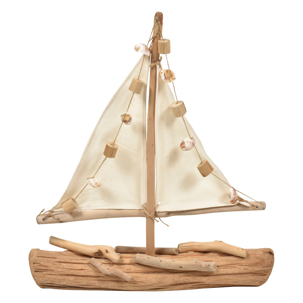 Colusa Canvas & Drfitwood Boat Sculpture, Large