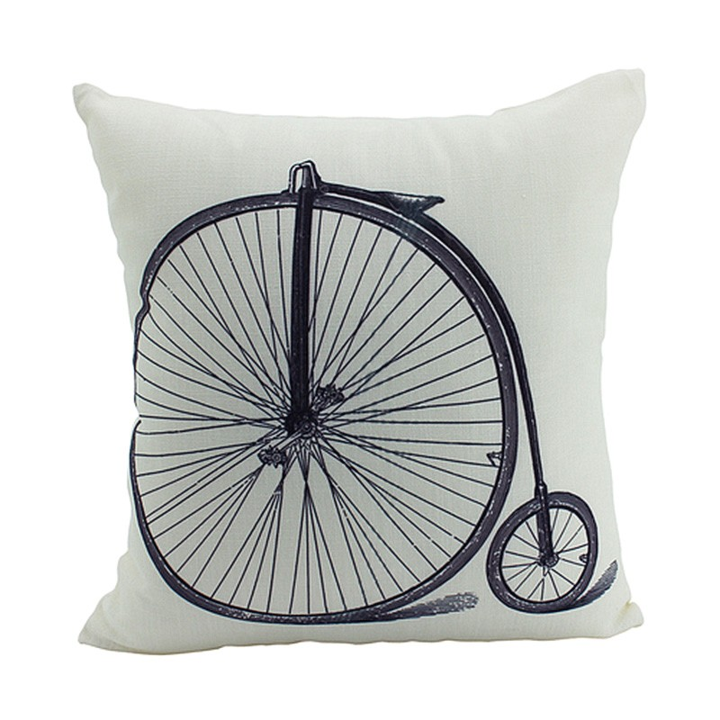 Vintage Object Illustration Scatter Cushion, Penny Farthing